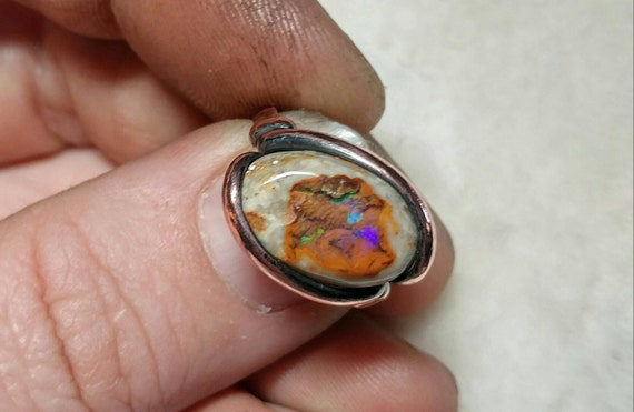 Matrix Opal Ring   Copper Ring sz 6    Boulder Opal Ring   Opal Jewelry   Cantera Opal Ring   Mexican Fire Opal Jewelry   October Birthstone