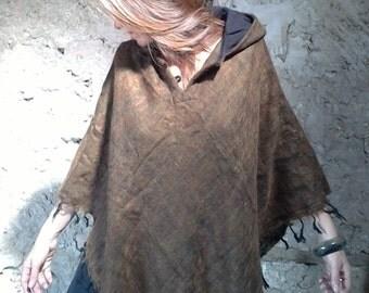 Poncho Brown Hoodie, yak wool