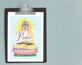 Yoga Buddha Art - Buddha artwork - meditation art- peace print - zen art - yoga studio art - buddhas - buddhist - calm art - sanctuary art