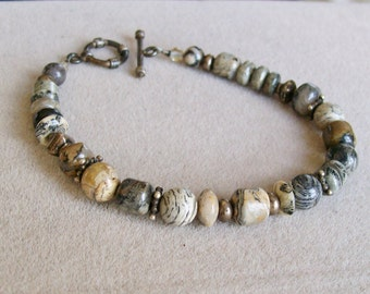 "Earth Tones STONE BRACELET Grays and Browns 7 1/2"" long Bohemian Nature"