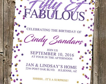 Confetti Glitter Birthday Invitation- Fabulous, Sensational (40th 50th 60th)