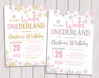 winter onederland invitation pink and silver first birthday invitation pink and gold winter onederland - Winter Onederland Party Invitations
