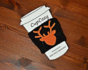 Deer Cup Cozy, Coffee Cozy, Buck Cup Cozy, Cup Cozy for Men, Fathers Day, Cup Sleeve, Beverage Cozy,  Drink Cozy, Crochet, Coffee Sleeve