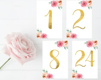 Wedding Decor, Bridal Shower, Sign, Table Numbers, Table Decor, Floral, Flowers, Gold, Gold Leaf, Black, Blush, Pink, Peach, 4x6, Set of 24