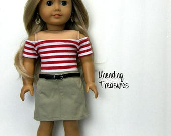 18 inch doll clothes made to fit like american girl doll clothes red and white striped off shoulder top and khaki jean skirt