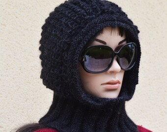 Black unisex hood in Alpaca pattern. Minaben creation.
