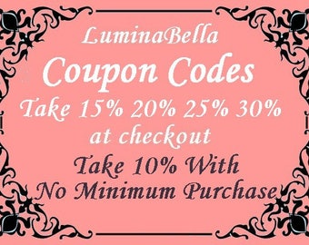DISCOUNT COUPON CODES - 10, 15, 20, 25, 30% Quantity Discounts and Wholesale Savings on LuminaBella Stained Glass Fine Art