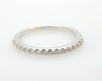 14K White Gold 0.25cttw G/VS Round Diamond Wedding Band Ring Sz 7; sku # 4598