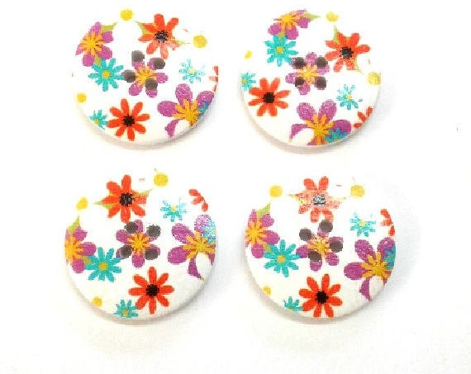 4 x 30mm Orange purple and blue flower wooden buttons