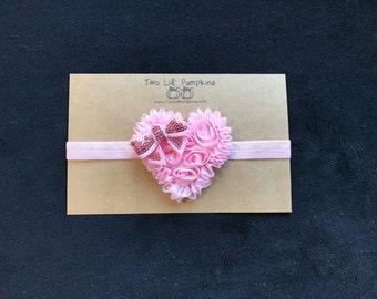Valentine's Day Headband, Pink Chiffon Heart on Baby Pink Elastic Headband with Sequin Bow, Valentine Baby, Toddler Girl, Valentine Photo