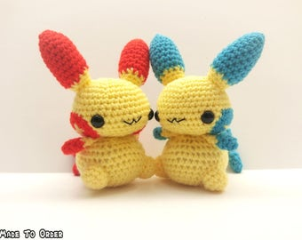 Crochet Plusle and/or Minun Inspired Chibi Pokemon