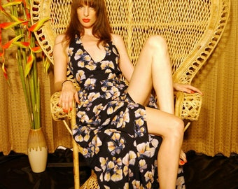 Saigon Maxi Dress\\ full length 70s halter dress// slit dress