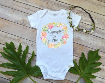 Baby Shower Gift, Happiness is Free, Boho Baby Clothes, Cute Baby Clothes, Baby Girl Clothes, Baby Girl Gift, Niece Gift, Happy shirt, Baby