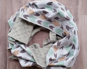 Baby blanket, minky blanket, boys baby blanket, grey, green,