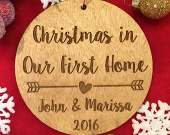 Christmas in Our First Home Ornament - Personalized Wood Ornament, Gifts for Her, New Family, Commemorative Gift, Housewarming Gifts, New Ho