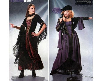 Women's Gothic Style Costume Sewing Pattern, Corset Top, Skirt Misses Size 4-6-8 Uncut Simplicity 8750