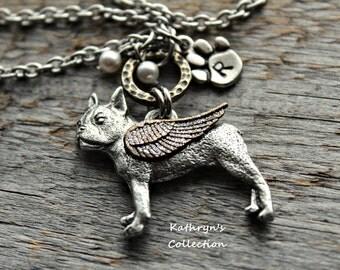 Boston Terrier Memorial Necklace, Boston Terrier Angel, Boston Terrier Jewelry, Pet Memorial Jewelry