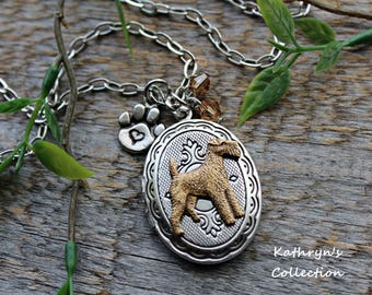 Airedale Terrier Locket Necklace, Airedale Jewelry, Welsh Terrier, Lakeland Terrier, Wirehair Fox Terrier