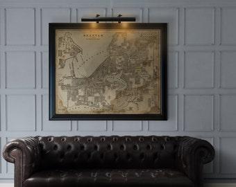 Seattle Map : Vintage Seattle map print poster Circa 1899 - Washington Map giclee print