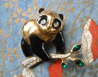 Vintage Brooch Panda Swarovski Rhinestone Enamel Panda Bear Figural Bamboo Black Gold Green Asian Woodland