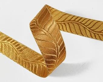 15mm, 25mm, 38mm Metallic Rose Gold Jacquard Ribbon Trim by 2-yards, SMB-51, 101, 151