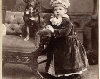 Antique Cabinet Photo Victorian Child and Puppy
