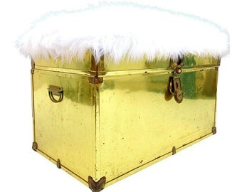 Vintage Brass & Faux Fur Trunk / Bench || Footlocker + Seating || Foot of Bed Ottoman