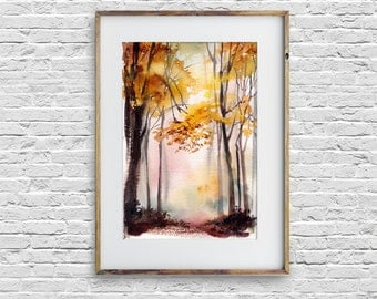ORIGINAL Waterclor Painting of Autumn Forest, Landscape Painting, Trees Paintings, Nature painting, watercolour art