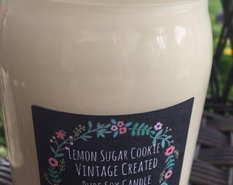 NEW Lemon Sugar Cookie 16 oz. Soy Candle  ~ Pure Soy Candle ~Summer Fragrances~Mason Jar Soy Candle~Lemon Soy Candle~Summer Lemon Candle