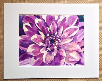 Pink Dalhia Watercolor Painting - Dahlia Painting - Pink Floral Up Close Watercolour - Purple Dahlia Flower Blossom