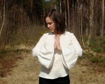 Womens linen top, wide sleeve linen blouse, womens linen blouse, womens linen clothing, linen shirt, CollectionWN
