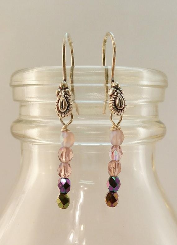 Simple Purple Crystal Earrings on Sterling Silver French Hooks