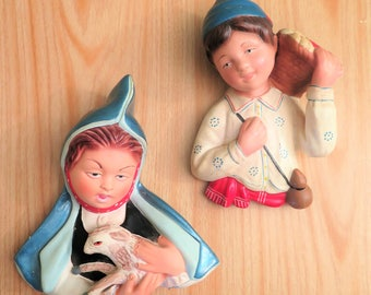 Vintage Chalkware Wall Plaques - Pair of Chalkware Wall Plaques - Plaster Wall Plaques - Pair of Plaster Wall Plaques - Peasant Boy and Girl