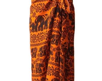 Elephant Beach Pool Wrap Pareo Sarong Swimsuit Wear Cover Large Scarf Shawl Gypsy Hippie Boho Women E01 Bright Orange
