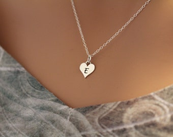 Sterling Silver E Letter Heart Necklace, Silver Tiny Stamped E Initial Heart Necklace, Stamped E Letter Charm Necklace, E Initial Necklace