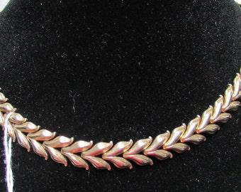 Vintage shabby chic retro crown Trifari  modernist link necklace choker statement necklace boho estate find