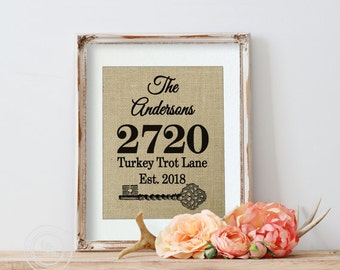 Personalized New Home Gift, Housewarming Gift, Burlap Print, New House Gift, Home Address Sign, First Home, New Address Sign, Welcome