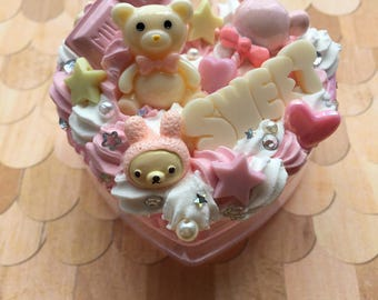 Pink and White Chocolate Bear Decoden Box