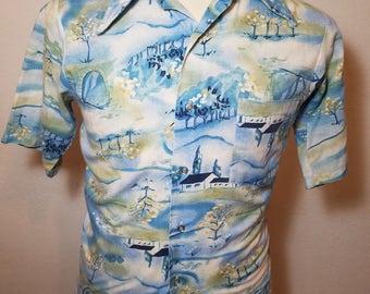 FREE  SHIPPING  1970 Cotton Abstract Men Shirt
