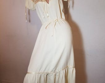 FREE  SHIPPING  1970 Boho Peasant Dress