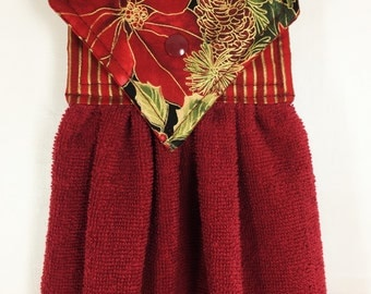 Holiday Hanging Hand Towel, Poinsettia Hanging Kitchen Towel, Christmas Hanging Towel, Xmas Hand Towel, Burgundy Holiday Kitchen Decor