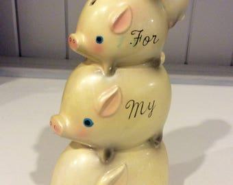 "Vintage ""For My Vacation"" Ceramaster Piggy Bank, Yellow Piggy Banks, Opalescent Piggy Banks, Yellow Pigs, Ceramaster Coin Banks,Kitschy Bank"