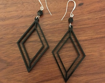 Laser Cut Geometric Diamond Shaped Acrylic Earrings