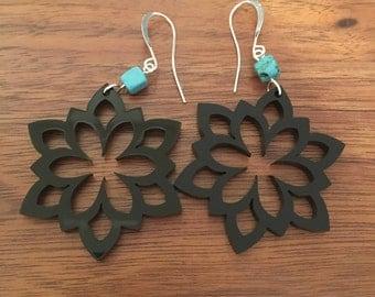 Laser Cut Flower Acrylic Earrings