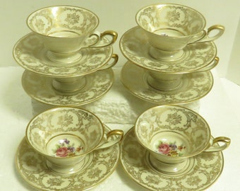 6 Vintage Bavaria, Germany, TIRSCHEREUTH Hand Painted Porcelain Demitasse Cups & Saucers / 6