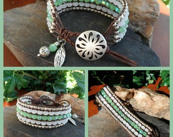 FROSTED MINT 5 Row Beaded Leather Wrap, Leather Cuff Bracelet, Green, White, Czech Glass, Boho, Birthday Gift, Beachy,  Handmade, Ravengirl