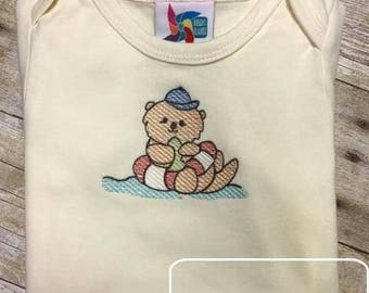Boy Otter in intertube sketch embroidery design - otter embroidery design - otter sketch embroidery design - summer embroidery design