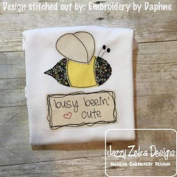 Busy Beein' Cute Shabby Chic Appliqué design - bee appliqué design - vintage appliqué design - spring appliqué design - bean stitch appliqué