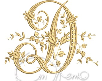 MACHINE EMBROIDERY DESIGN - Victorian Letter D embroidery, Victorian alphabet embroidery, Antique alphabet embroidery, Monogram embroidery