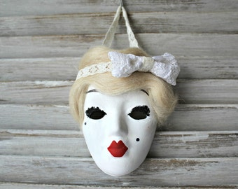 Handmade. Ceramic mask. Art deco! Wall art.